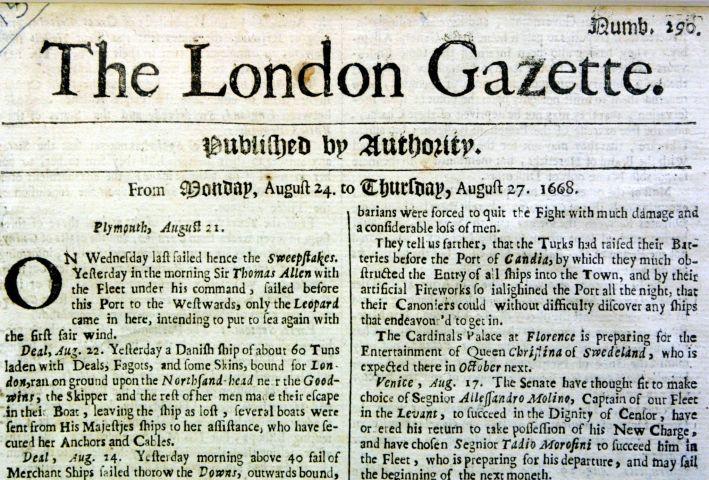 Esce per la prima volta la London Gazette